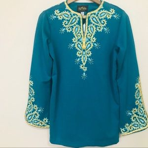 🍃Bob Mackie | Green Embroidered Blouse